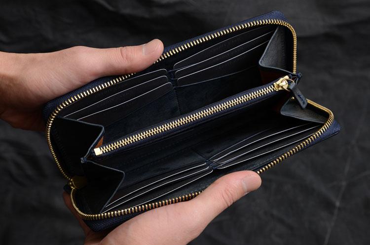 メンズラウンド長財布 札入れ2つ、12段のカード段