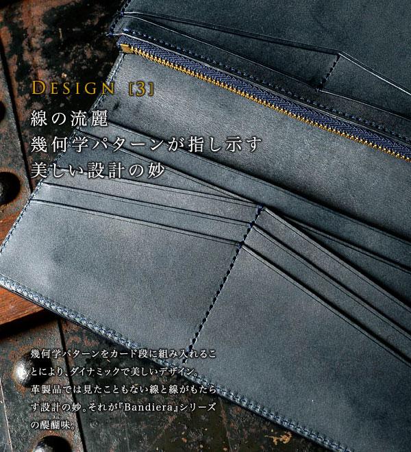 幾何学パターンをカード段に組み入れることにより、ダイナミックで美しいデザイン。長財布では見たこともない線と線がもたらす設計の妙。それが『Bandiera』シリーズの醍醐味。