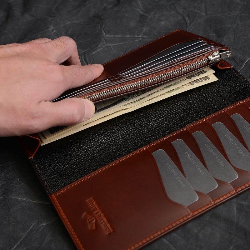 革財布のデザイン小銭入れ・札入れ1段