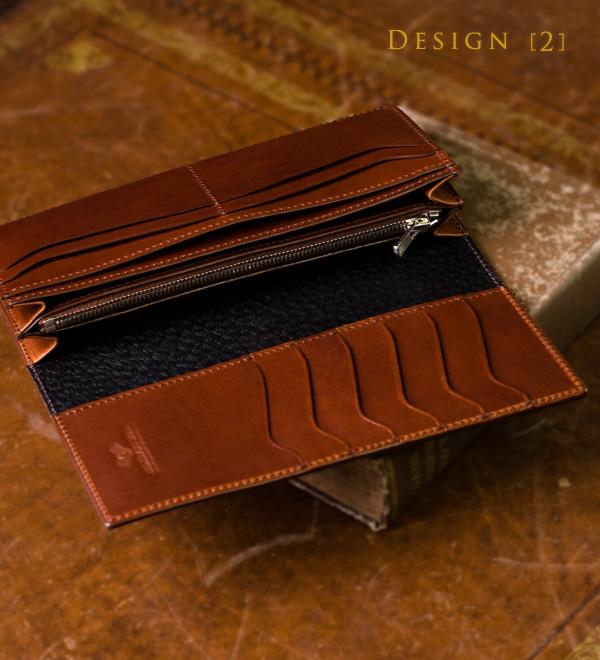 ブッテーロとの絶妙なコントラスト、黒光りする長財布の内装