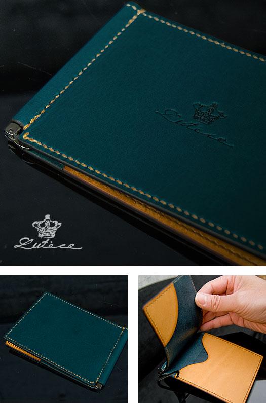 イタリア本革(ミネルバリスシオ)手縫いマネークリップ財布