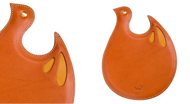 レザーマウスパッド<オレンジ・赤>